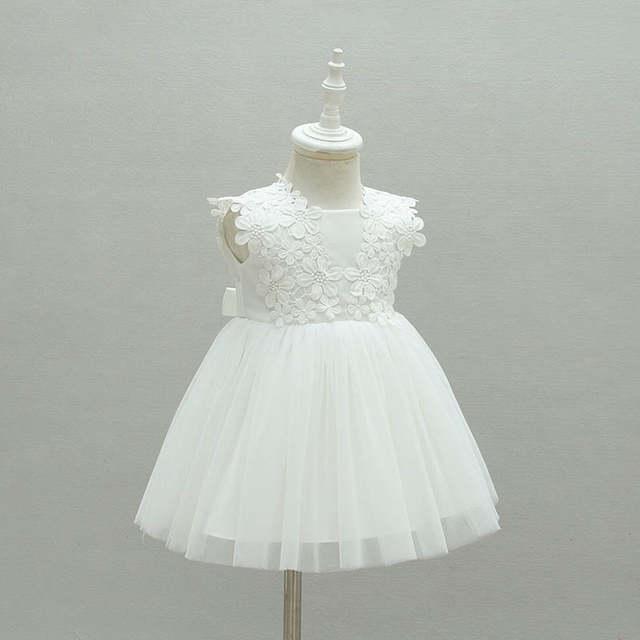 ef82462a33 Branco Festa de Casamento Vestidos de Meninas Vestido Da Menina Crianças  Roupas Bebes 1 Anos de