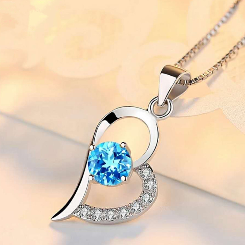 Korean 925 sterling silver Blue crystal hearts necklace pendant blue crystal pendant, crystal clear chain jewelry