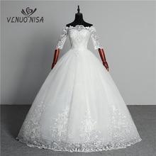 חתונת שמלת 2020 הגעה חדשה פרפר Gelinlik רקמת תחרת סירת צוואר כבוי כתף נסיכת שמלות Vestidos דה Novia