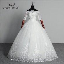 Suknia ślubna 2020 New Arrival motyl Gelinlik hafty koronki łódź szyi Off the Shoulder księżniczka suknie Vestidos De Novia