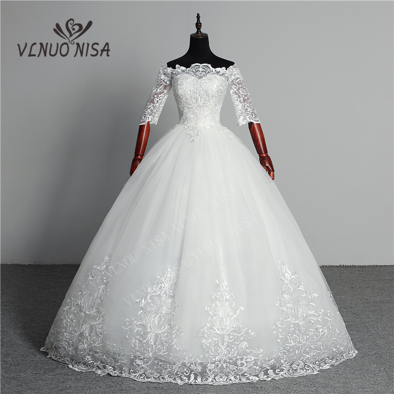 Wedding Dress 2020 New Arrival Butterfly Gelinlik Embroidery Lace Boat Neck Off The Shoulder Princess Gowns Vestidos De Novia