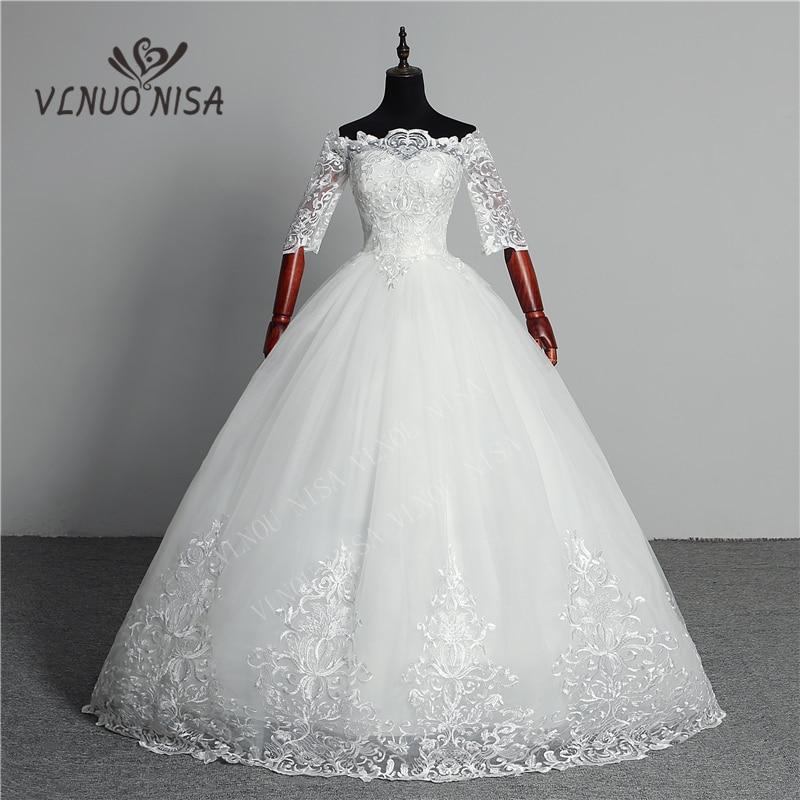 Wedding Dress 2020 New Arrival Butterfly Gelinlik Embroidery Lace Boat Neck Off The Shoulder Princess Gowns Vestidos De Novia