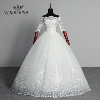 Wedding Dress 2020 New Arrival Butterfly Gelinlik Embroidery Lace Boat Neck Off the Shoulder Princess Gowns Vestidos De Novia - discount item  35% OFF Wedding Dresses