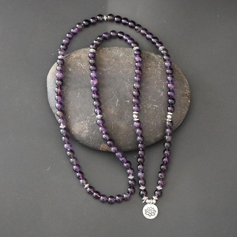 Boho Women Meditation Jewelry Luxury Design Purple Natural Amethy Stone 108 Mala Lotus Bracelet Reiki Spiritual Buddha Bracelet women spiritual help seeking behavior