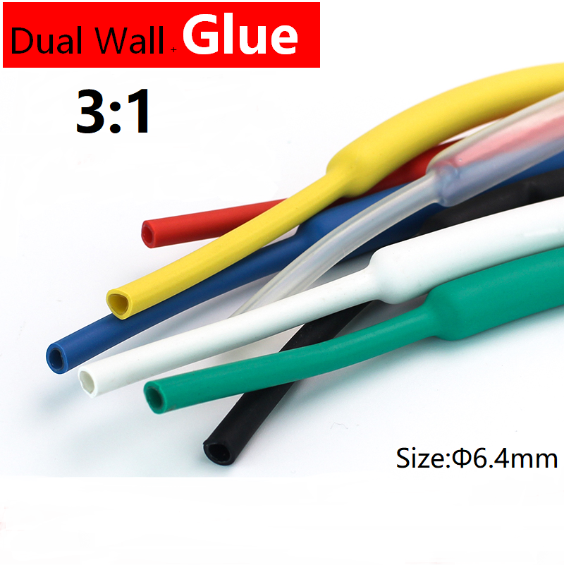 1M 6.4mm Diameter PE 3:1 Ratio Heat Shrink Tube Adhesive Lined Dual Wall With Thick Glue Wire Wrap Waterproof Kit Cable Sleeve