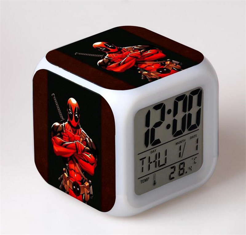 Deadpool 7 Colorful gradients digital alarm clock toy 2016 New LED electronic action figure toys for kids home decoration K454A