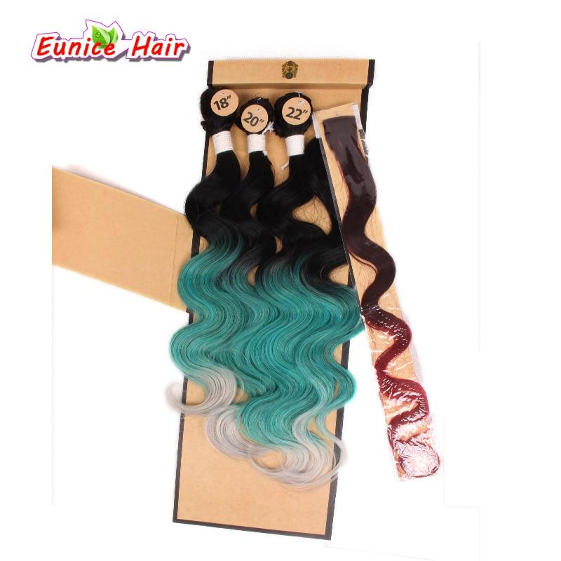 თმის მშვენიერი სინთეზური ვარდისფერი ცისარტყელა ტანის ტალღა სინთეზური გამძლე თმისათვის Ombre 3pcs თმის ქსოვა + 1 ცალი დახურვა + 1 ცალი Clip-In თმის