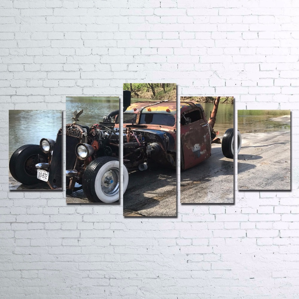 Hd Prints Paintings Wall Art Canvas For Living Room Home Decor 5 Pieces Old Hot Rod Vintage Car Poster Modern Pictures Framework In Painting Calligraphy