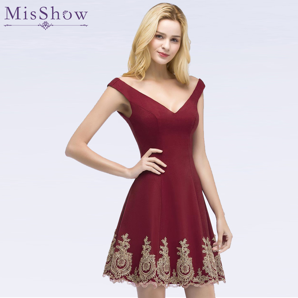 Women   Cocktail   Party   Dress   2019 Sexy A-Line Mini burgundy Lady   Cocktail     Dresses   Applique Short Formal Prom Party Gown   Dresses