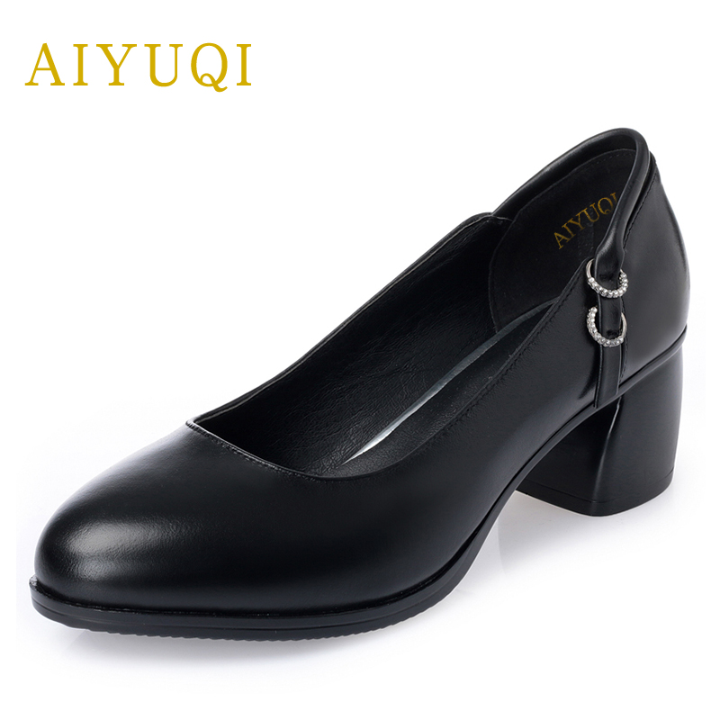 AIYUQI Genuine leather big size women shoe 2018 new Shallow mid heels black dress shoes, platform autumn shoes women aiyuqi 2018 new 100% genuine leather women shoes big size 41 42 43 low heel pumps trend ladies shoes women dress shoes