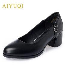 AIYUQI Genuine leather big size women shoe 2019 new Shallow mid heels black dress shoes,  platform autumn shoes women