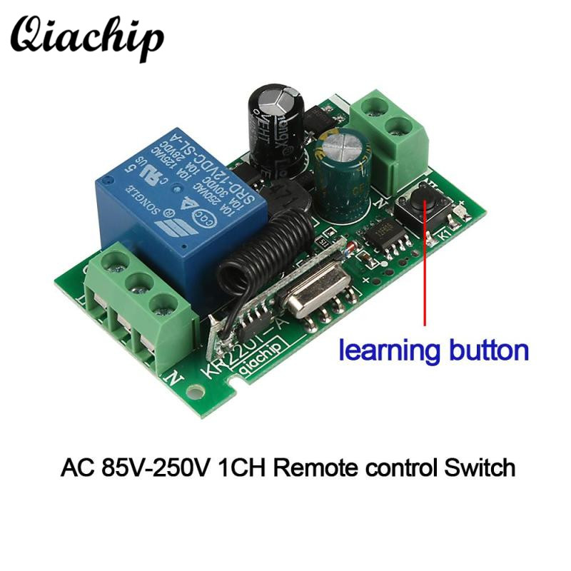 433Mhz Universal 1 CH Wireless RF Relay Remote Control Switch AC 85V~250V 110V 220V Learning Button Light Lamps Receiver Module