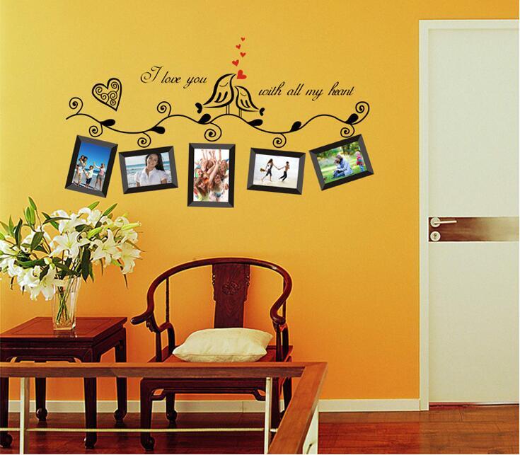 DIY foto Marcos loving Bird amo corazón Adhesivos de pared para ...