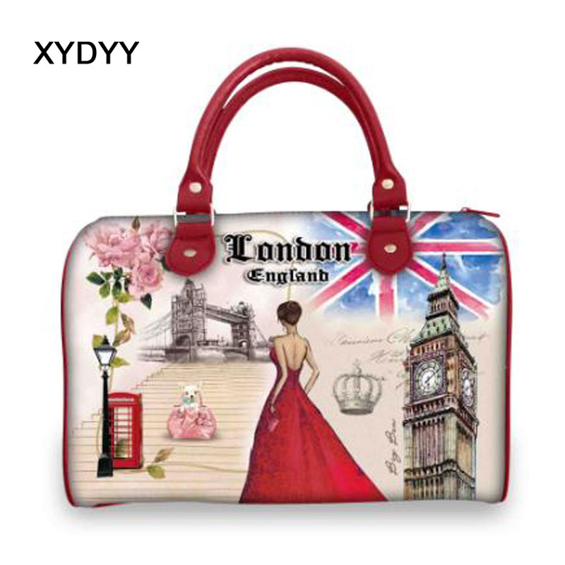 Xydyy Fashion Pu Leather Bags Ladies London Print Bags