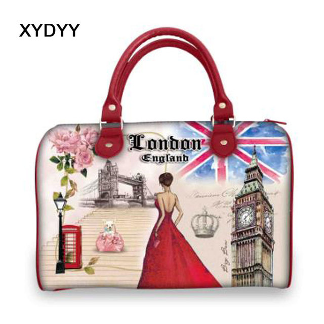 990a5bb37bf5 XYDYY Fashion PU Leather Bags Ladies London Print Bags Women Handbags  Casual Tote High Quality Large Capacity Handbags for girl