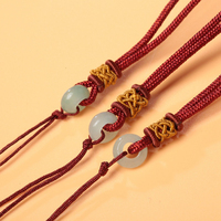 Aladdin Hand Knitting Necklace Pendant Rope DIY Accessories Nature Jade Torus Pineapple Buckle Red Cords Picking