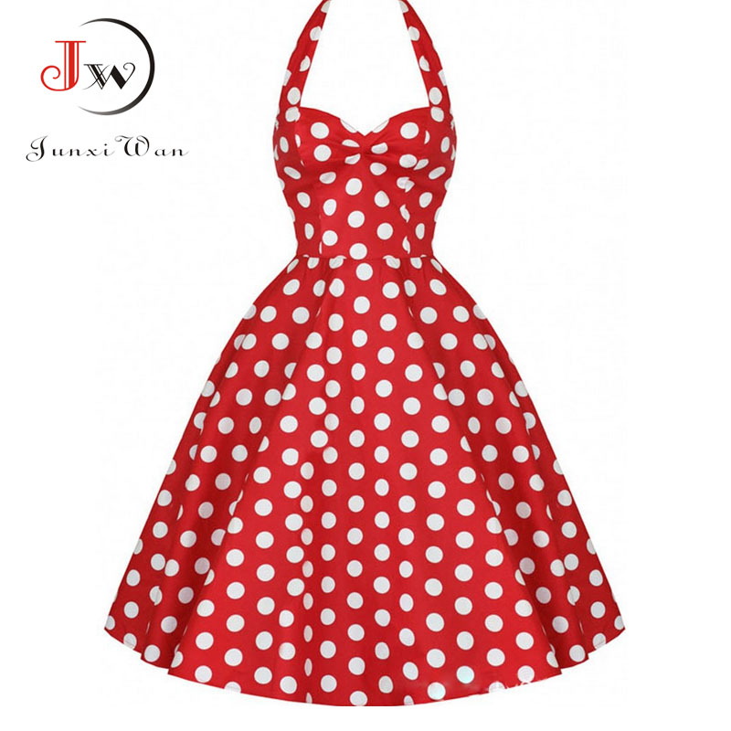 Summer Casual Dress Women 2017 Polka Dot Retro Swing Gown Pin up Robe Vintage 60s 50s Rockabilly Dresses Plus Size WQ0974