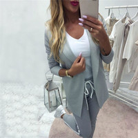 MVGIRLRU Women's Sets OL pant suits turn down collar buttonless blazer jacket+side striped pants 2 piece outfits tracksuit