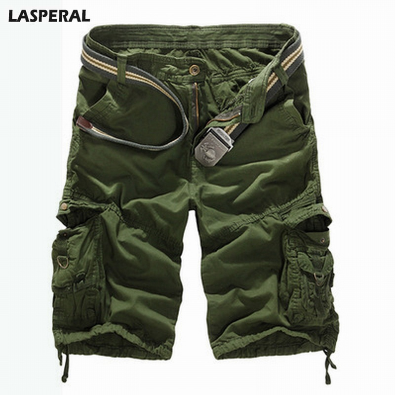 LASPERAL Loose Cargo Shorts Men 2018 Summer Casual Solid Camouflage Military Camo Short Pants Male Shorts Plus Size Dropshipping
