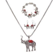 MX0403 New Rhinestone Faux Earrings Necklace Bohemian New Women  Stone Animal Elephant Jewelry Sets a suit of graceful rhinestone faux turquoise necklace and earrings for women