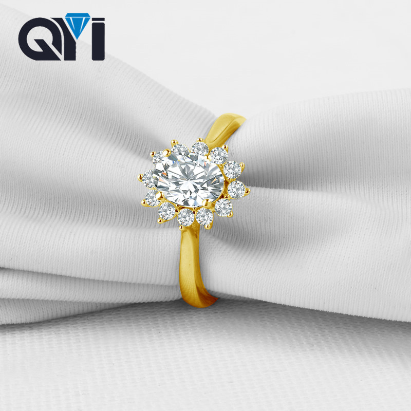 Hot Sale Qyi 10k Solid Yellow Gold Wedding Rings Oval Cut Simulated
