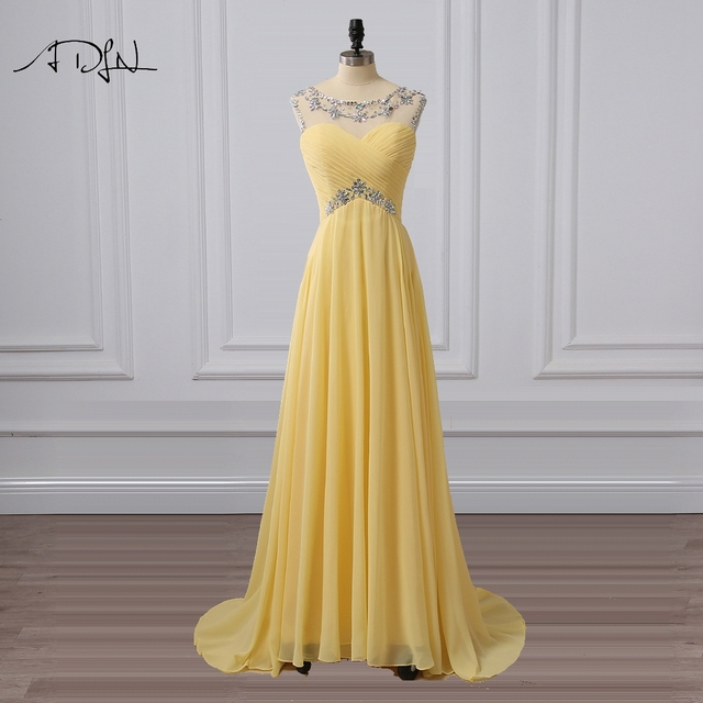 ADLN Scoop Sleeveless Yellow Evening Dresses Sexy Back Chiffon Party Wear  Long Formal Prom Gown with Rhinestone c05d881b54c2