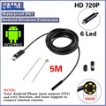Negro 2.0MP HD 720 P 2 en 1 Android Endoscopio 8mm Lente 6 LED Impermeable Boroscopio Cámara de Inspección con 5 m Longitud de Cable USB