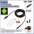 Preto 2.0MP HD 720 P 2 em 1 Android Endoscópio 8mm Lens 6 LEVOU À Prova D' Água Borescope Câmera de Inspeção com 5 m Comprimento Do Cabo USB
