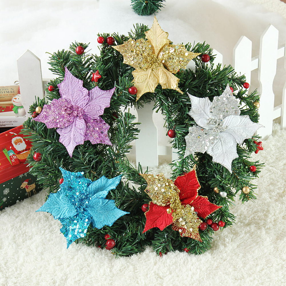 10 pcs 13cm christmas artificial flowers gold side for xmas tree decorations wedding party decor ornaments
