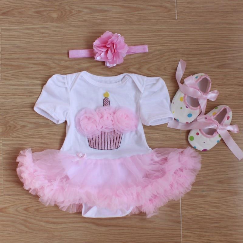 बेबी Rompers 3PC शिशु कपड़े सेट बेबी लड़कियों सफेद गुलाबी कप केक जन्मदिन टूटू पोशाक Jumpersuit हेडबैंड जूते