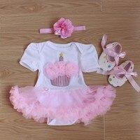 Baby Rompers 3PCs Infant Clothing Set Baby Girls White Pink Cupcake Birthday Tutu Dress Jumpersuit Headband