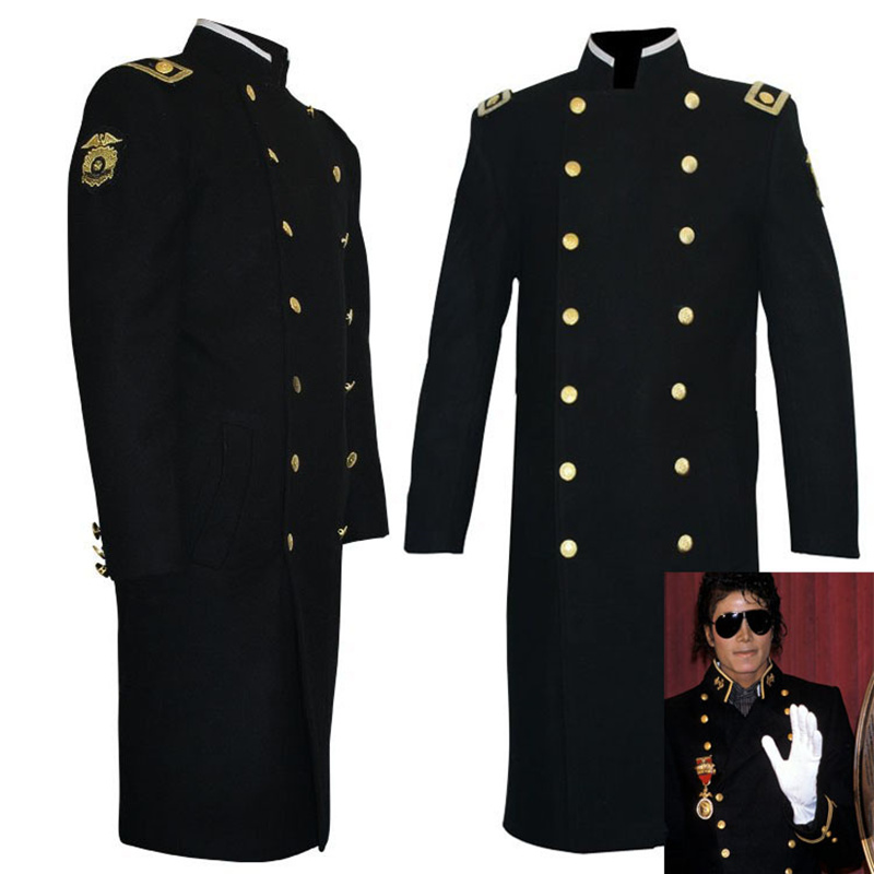Rare MJ Michael Jackson Classic Mato Woolen Black Military Overcoat CAPPOTTO Overcoabout Jacket