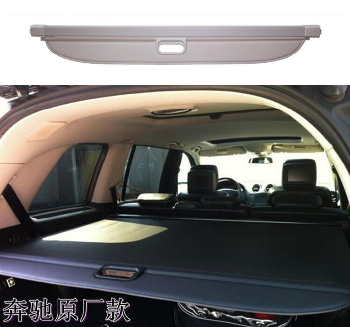 Car Rear Trunk Security Shield Shade Cargo Cover For Benz GL Class W166 GL350 GL400 GL500 2013 2014 2015 2016 2017 (Black beige) car rear trunk security shield cargo cover for dodge journey 5 seat 7 seat 2013 2014 2015 2016 2017 high qualit auto accessories