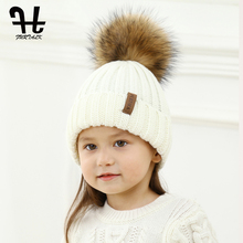 FURTALK Kids Raccoon Fur Beanie Hat Winter Knitted pompom Hat Unisex Kids Gils Boys Autumn Warm