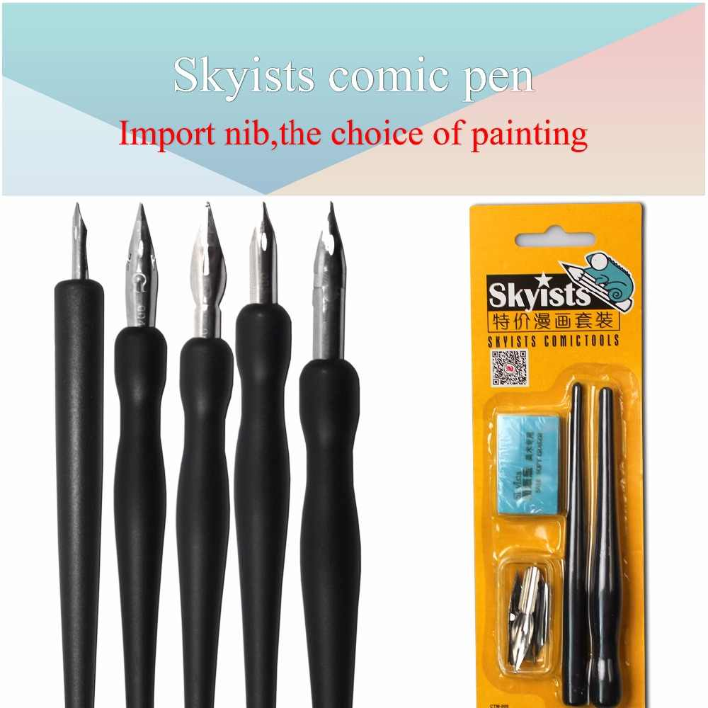 Skyists Dip Pen Set (5 Nibs(G/D/Round Pen Nib)+2 Plastic Handle+1 Eraser) for Manga Comic Tools Design Art Set