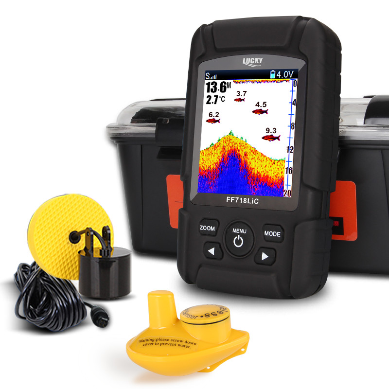 Fortunato FF718LiC Reale Impermeabile Fish Finder Monitor-in Wireless Sonar Cablato FishFinder Trasduttore Sensore Impermeabile Portatile