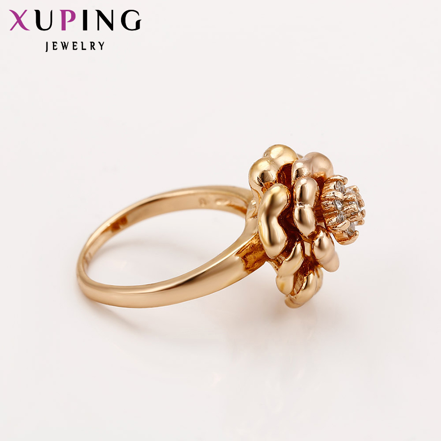 Xuping Ring Beautiful Flower Gold Color Plated Women Rings Fashion ...