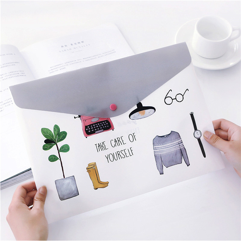 High Quality PVC A4 File Folder Document Filing Bag Portable Waterproof Stationery Bag For Students School Supplies Pencil Case
