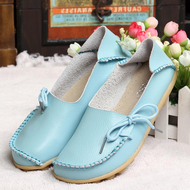 Nuevas Mujeres De Cuero Reales de Los Zapatos Mocasines Madre Mocasines Soft Oci