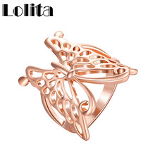 2016 New Large Butterfly Real Rose Gold Plated Ring For China Hollow Out Wedding Rings For Girls Jewelry Trend Bijoux BL034