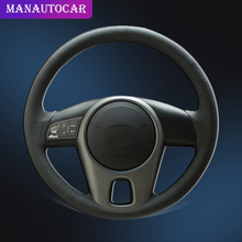 Car Braid On The Steering Wheel Cover for Kia Forte 2009-2014 Soul 2010-2013 Rio 2009-2011 Auto Wheel Cover Interior Accessories hand stitched black leather steering wheel cover for kia forte kia soul kia rio 2009 2011
