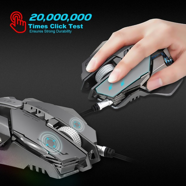 Professional Gaming  PC USB Wired Mouse 3200 DPI  7 Programmable Mechanical Buttons