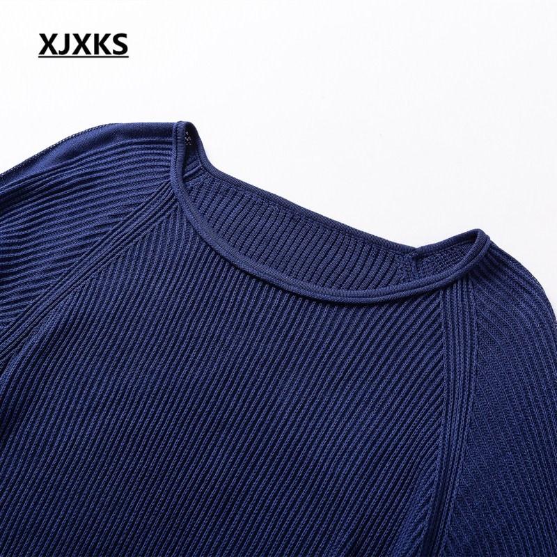 Robes Robe Solide Gratuite Noir Qualité Chaud Automne marine Couleur marron Longues Manches Livraison Pour Femmes Haute À Chandails 2018 Bleu Xjxks 5OwqaXSTT
