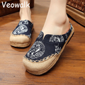 Thai Totem Embroidered Women Black Linen Cotton Slippers Slip on Ladies Flat Slides Summer Canvas Sandal Shoes Plus Size 35-44