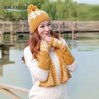 ผู้หญิงหิมะรูปแบบผ้าพันคอ+หมวก+ถุงมือตั้งฤดูหนาวที่อบอุ่นถัก3ชิ้นชุดสำหรับผู้หญิงขายHot Topค...