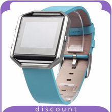 Fitbit Blaze Bands Genuine Leather Bracelet Strap Replacement Band For Fitbit Blaze Smart Fitness Watch (Genuine Leather Blue)