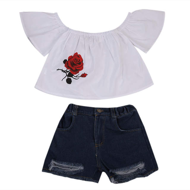 6c47fa741308 placeholder Kid Toddler Baby Girl Clothes Sets Off shoulder T-shirt Tops  Short Sleeve Cute Shirt