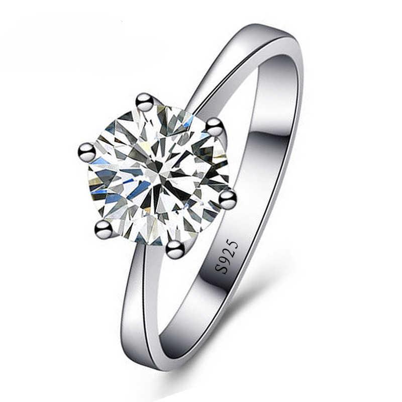 100% 925 เงินสเตอร์ลิงผู้หญิงคริสตัล CZ แหวนหมั้นแหวน Super Shinning Cubic Zirconia เครื่องประดับ Fine
