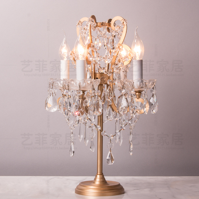 French Gold Wrought Iron Crystal Table Lamp Bedroom Bedside Lamp