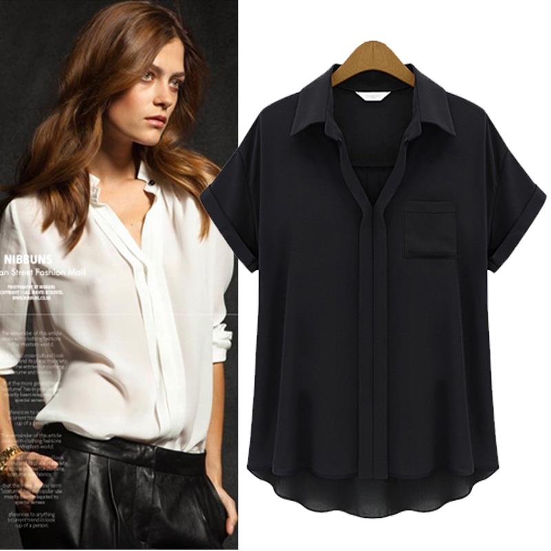 Xxxxxl Plus Size Blusas femeninas  mujeres con cuello en V Solid Blusa de la gas